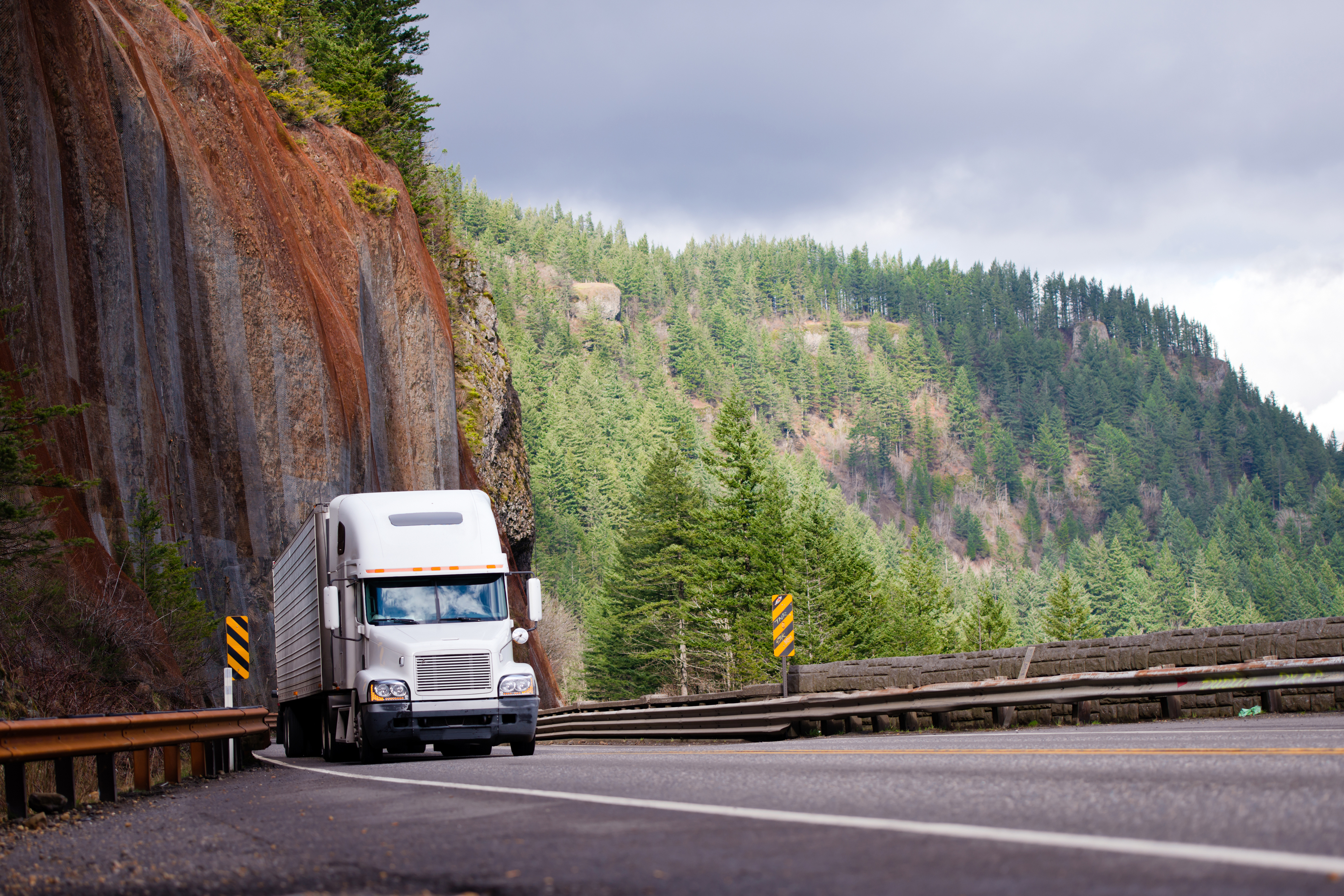 truck driving from la to canada through mountains